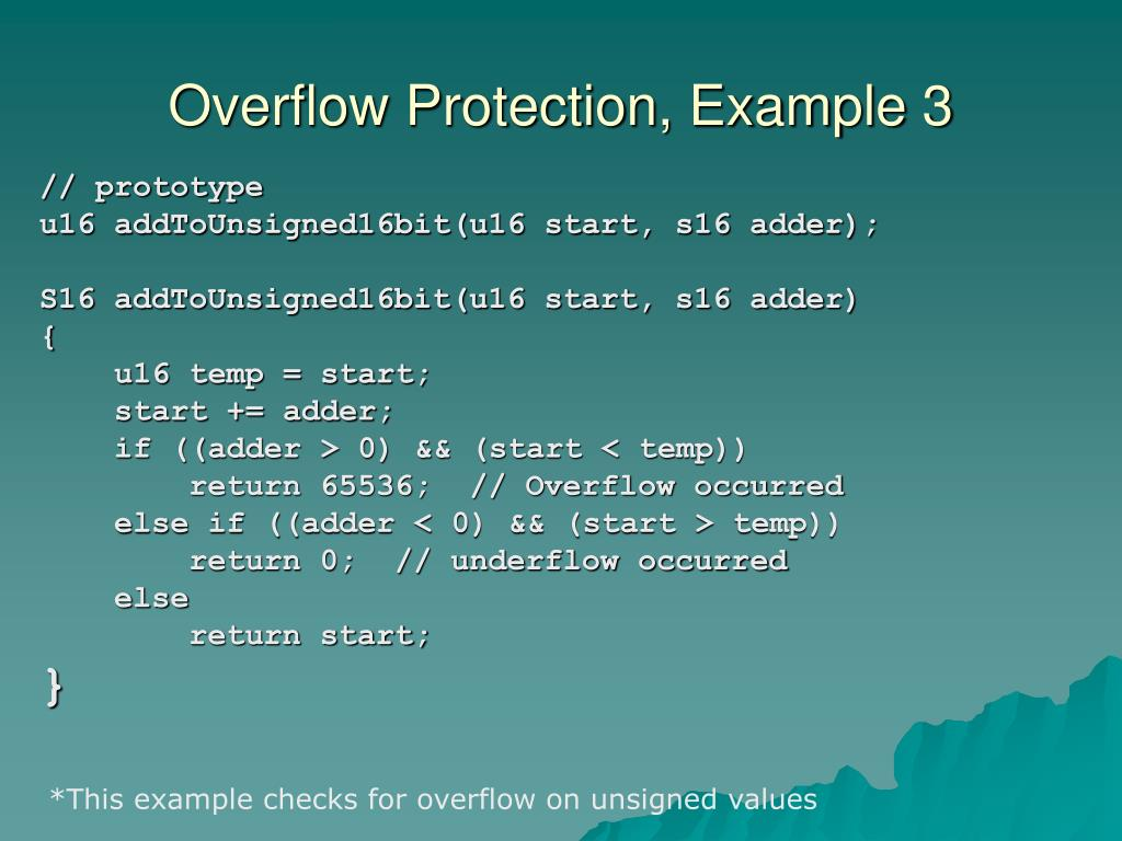 Overflow Protection, Example 3
