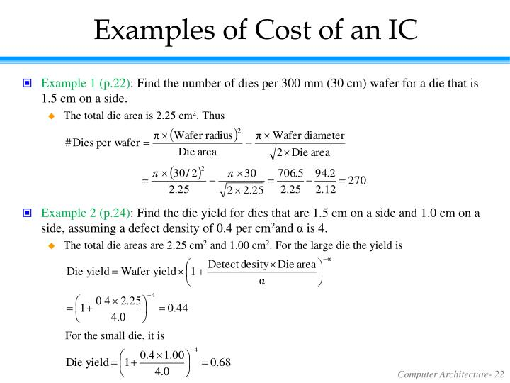 Examples of Cost of an IC