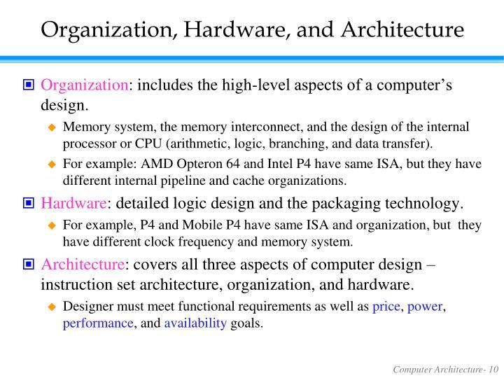 Organization, Hardware, and Architecture