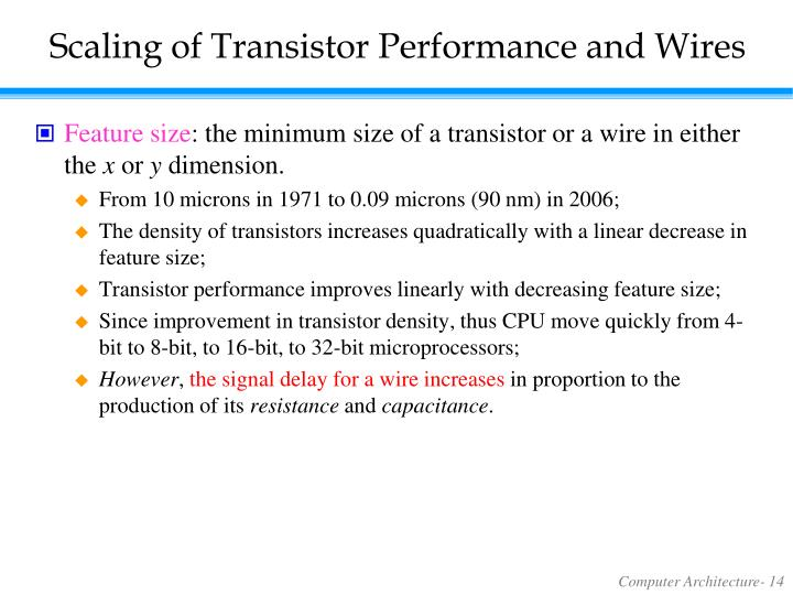 Scaling of Transistor Performance and Wires