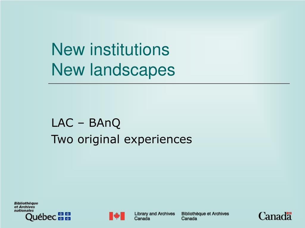 new institutions new landscapes l.