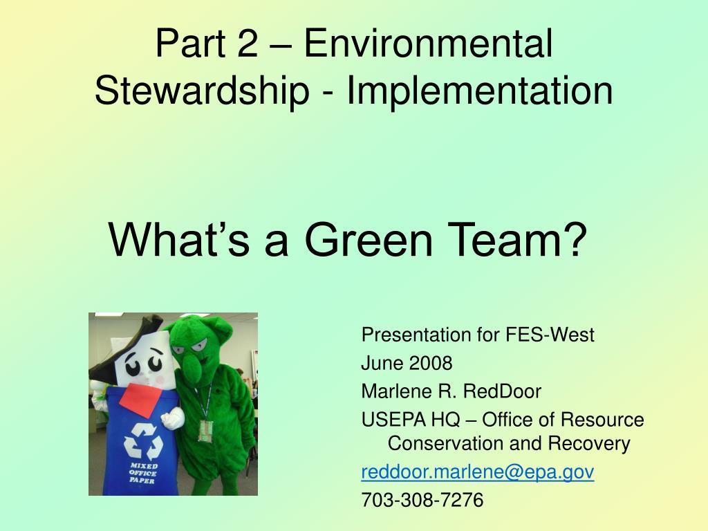 part 2 environmental stewardship implementation