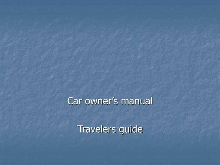 Car owner's manual