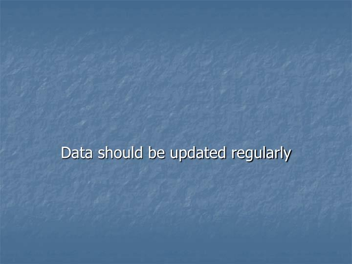 Data should be updated regularly