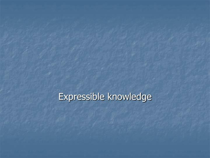 Expressible knowledge