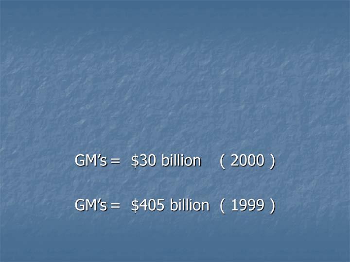 GM's=  $30 billion ( 2000 )