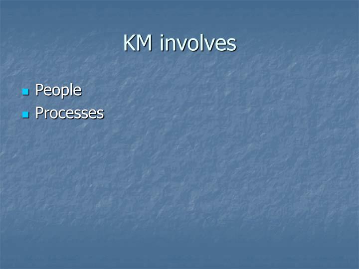 KM involves