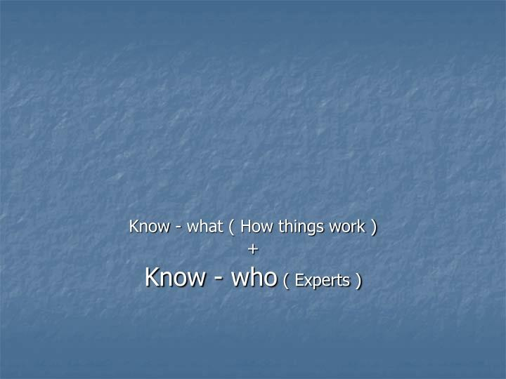Know - what ( How things work )