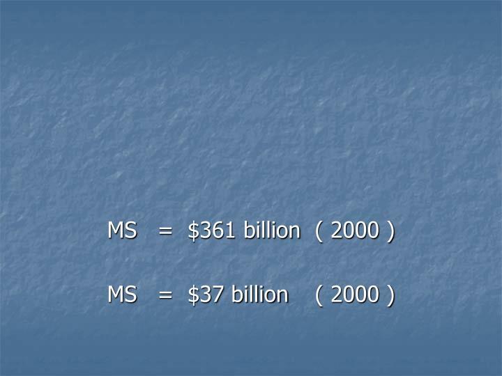 MS=  $361 billion ( 2000 )