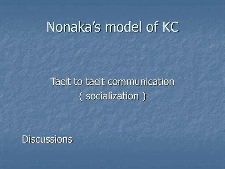 Nonaka's model of KC