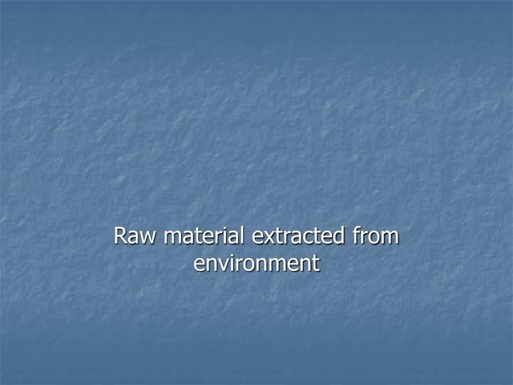 Raw material extracted from environment