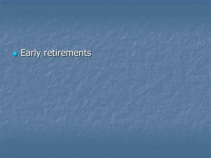 Early retirements