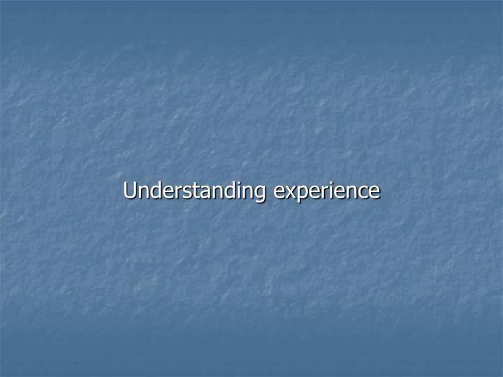Understanding experience