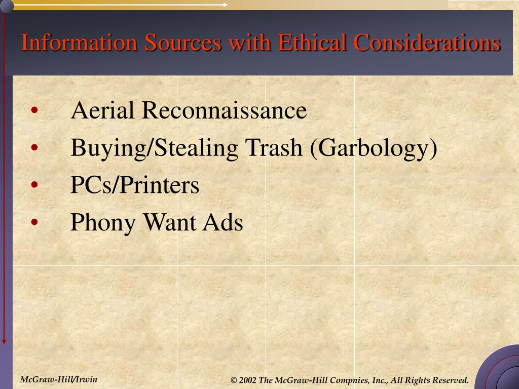 Information Sources with Ethical Considerations