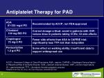 antiplatelet therapy for pad
