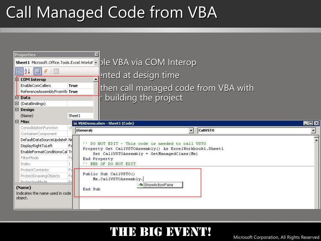 Call Managed Code from VBA