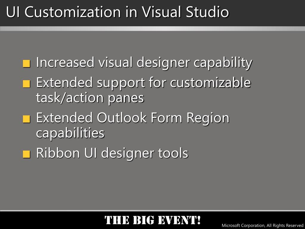 UI Customization in Visual Studio