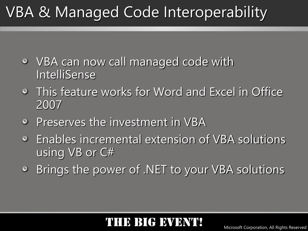VBA & Managed Code Interoperability