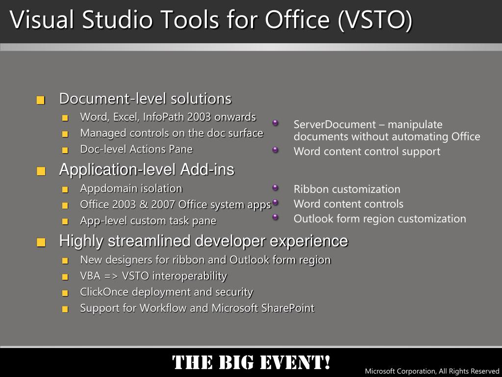 Visual Studio Tools for