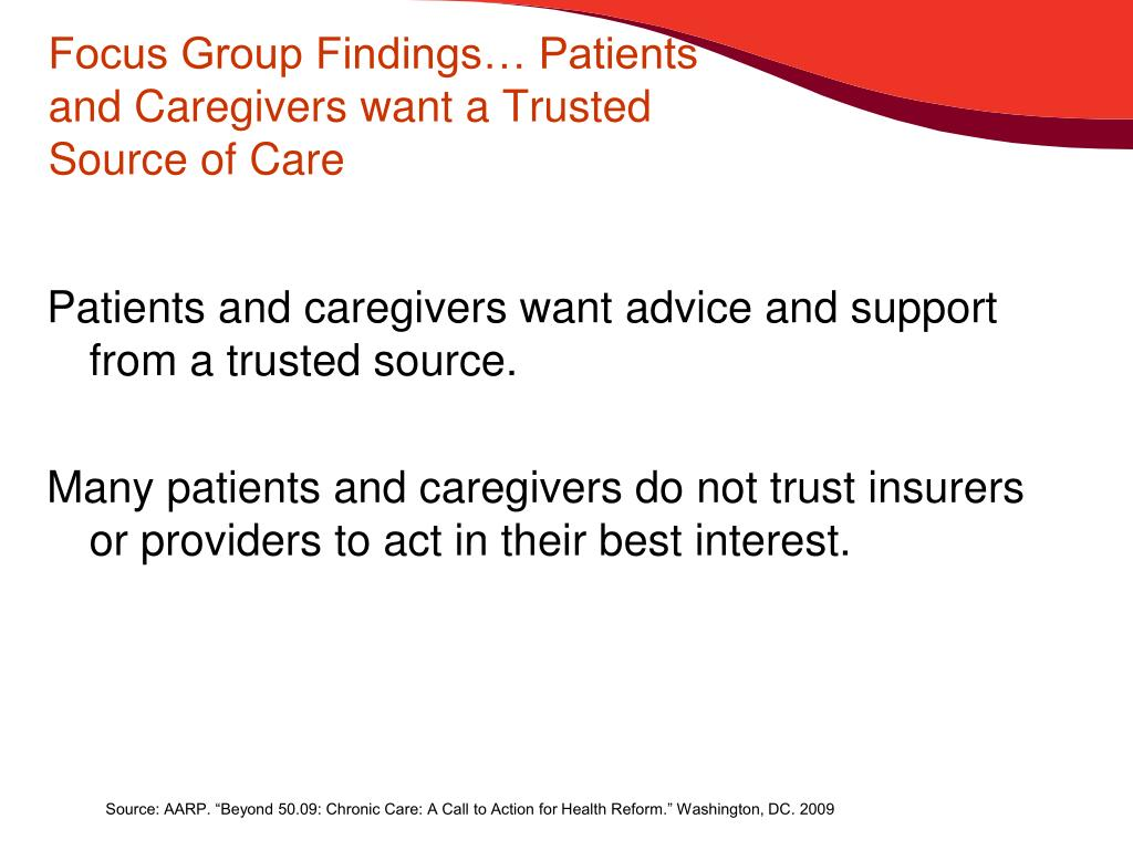 Focus Group Findings… Patients and Caregivers want a Trusted Source of Care