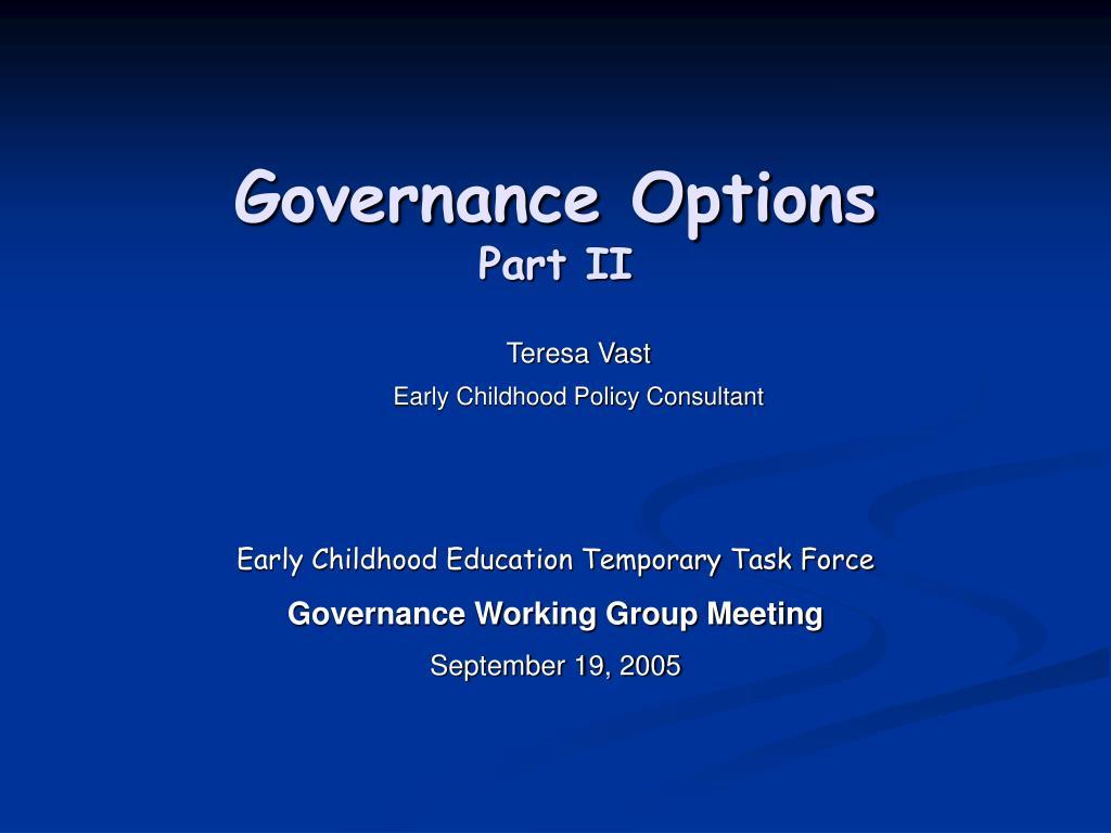 governance options part ii l.