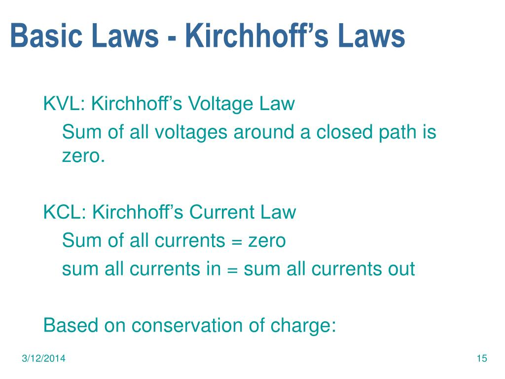 Basic Laws - Kirchhoff's Laws