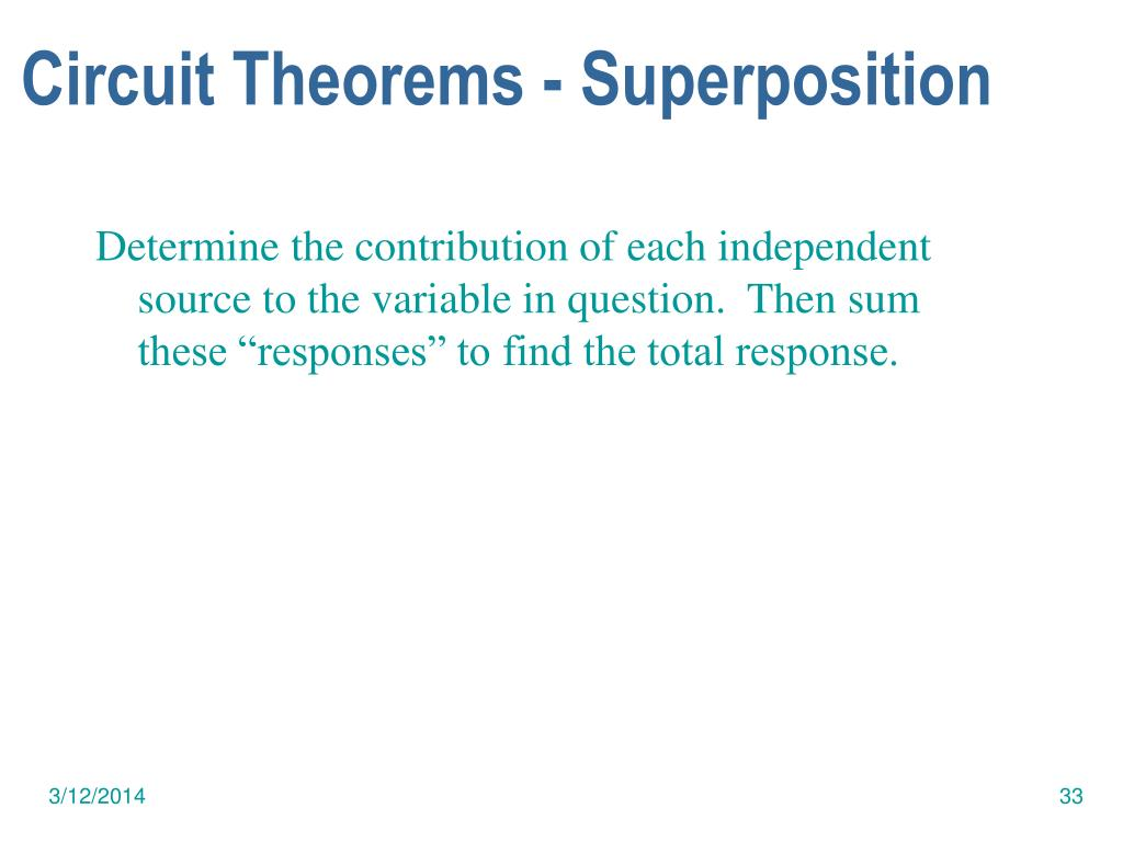 Circuit Theorems - Superposition