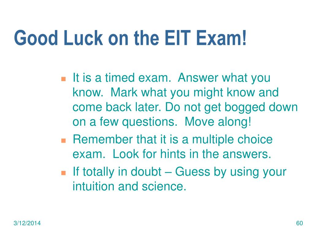 Good Luck on the EIT Exam!