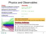physics and observables