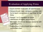 evaluation of applying firms