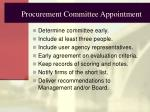 procurement committee appointment