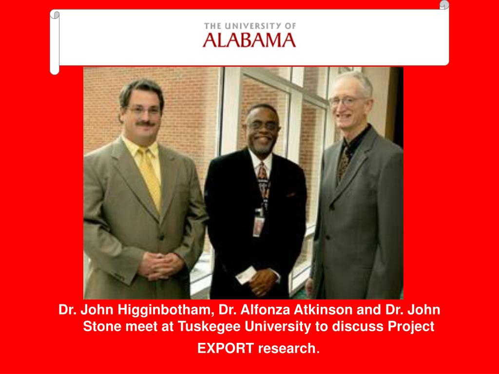 Dr. John Higginbotham, Dr. Alfonza Atkinson and Dr. John Stone meet at Tuskegee University to discuss Project EXPORT research