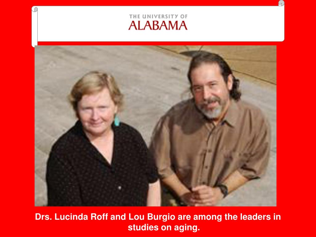 Drs. Lucinda Roff and Lou Burgio are among the leaders in studies on aging.