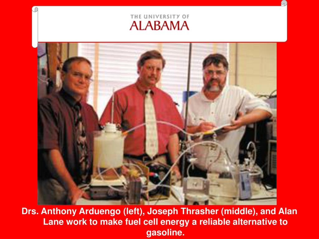 Drs. Anthony Arduengo (left), Joseph Thrasher (middle), and Alan Lane work to make fuel cell energy a reliable alternative to gasoline.
