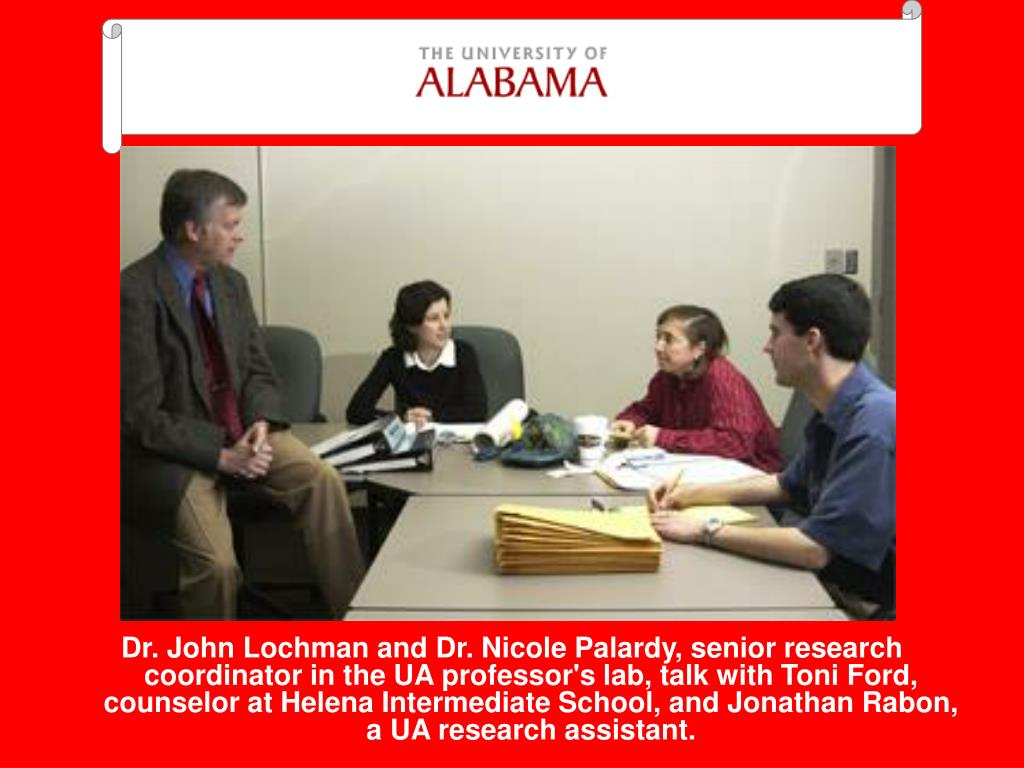Dr. John Lochman and Dr. Nicole Palardy, senior research coordinator in the UA professor's lab, talk with Toni Ford, counselor at Helena Intermediate School, and Jonathan Rabon, a UA research assistant.