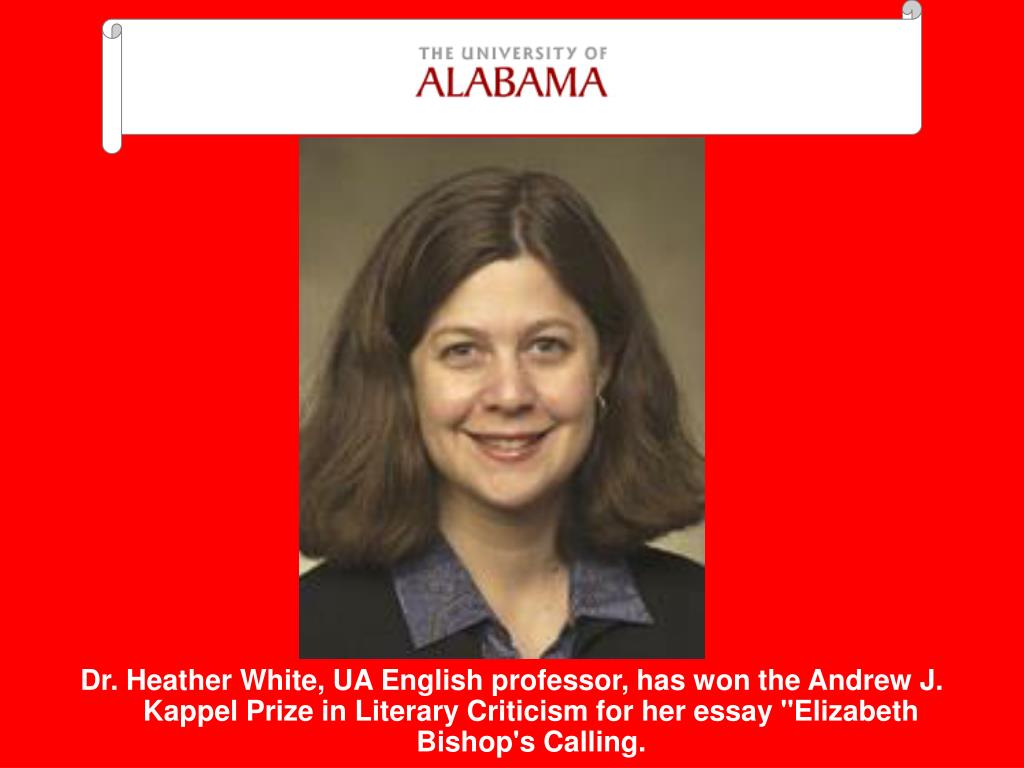 """Dr. Heather White, UA English professor, has won the Andrew J. Kappel Prize in Literary Criticism for her essay """"Elizabeth Bishop's Calling."""