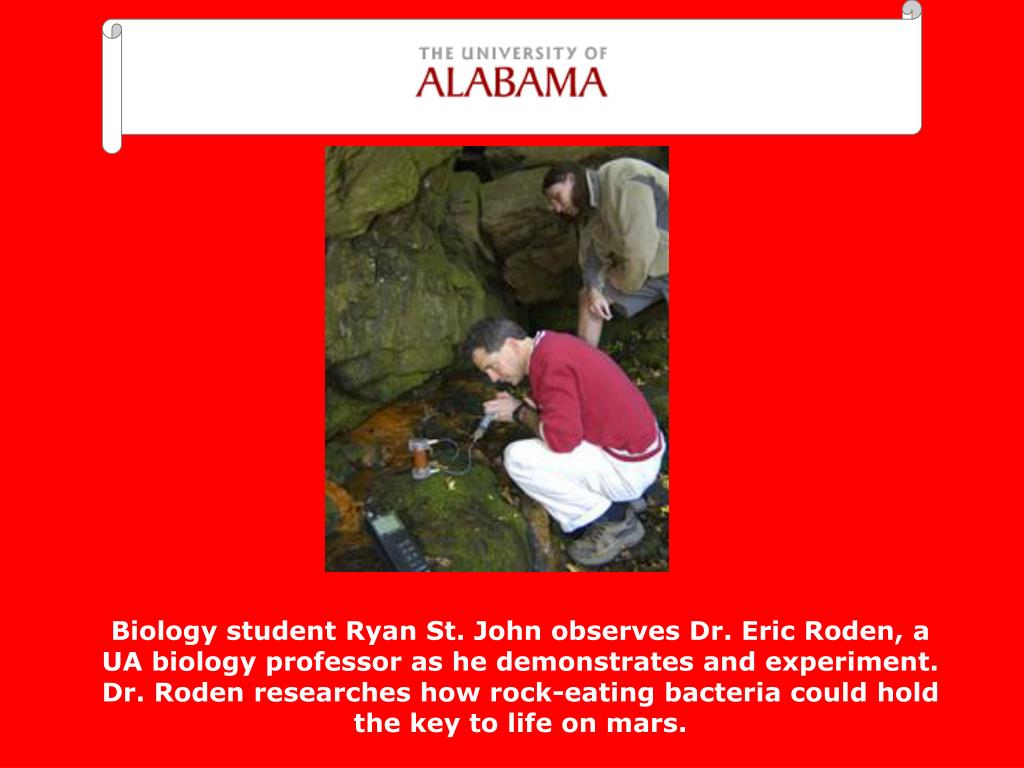 Biology student Ryan St. John observes Dr. Eric Roden, a UA biology professor as he demonstrates and experiment.  Dr. Roden researches how rock-eating bacteria could hold the key to life on mars.