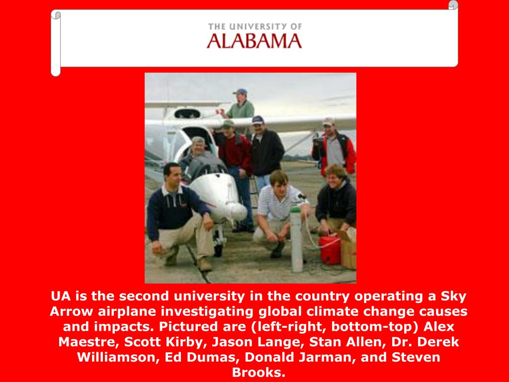 UA is the second university in the country operating a Sky Arrow airplane investigating global climate change causes and impacts. Pictured are (left-right, bottom-top) Alex Maestre, Scott Kirby, Jason Lange, Stan Allen, Dr. Derek Williamson, Ed Dumas, Donald Jarman, and Steven Brooks.