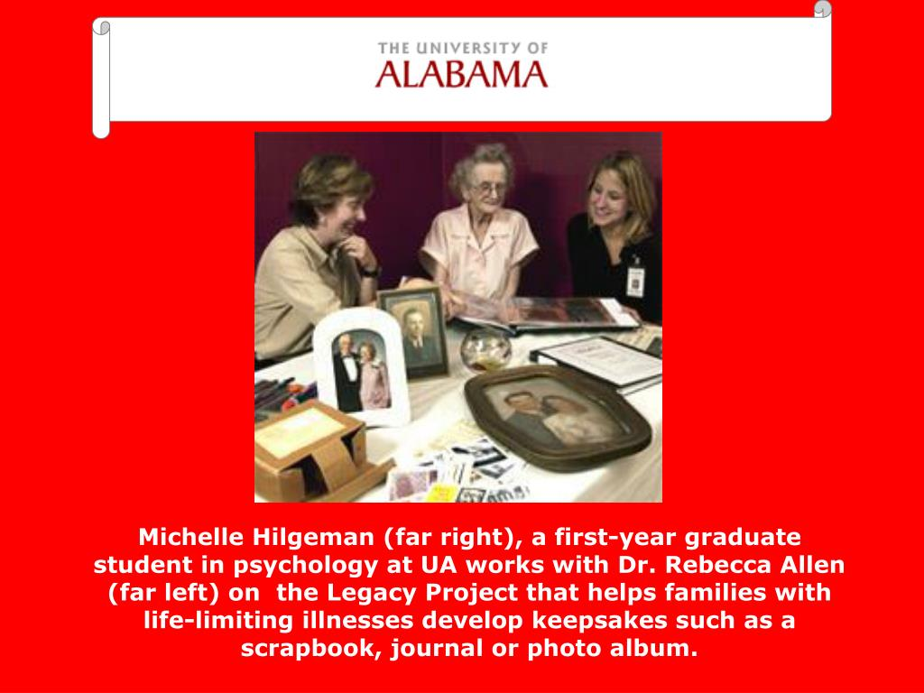 Michelle Hilgeman (far right), a first-year graduate student in psychology at UA works with Dr. Rebecca Allen (far left) on  the Legacy Project that helps families with life-limiting illnesses develop keepsakes such as a scrapbook, journal or photo album.