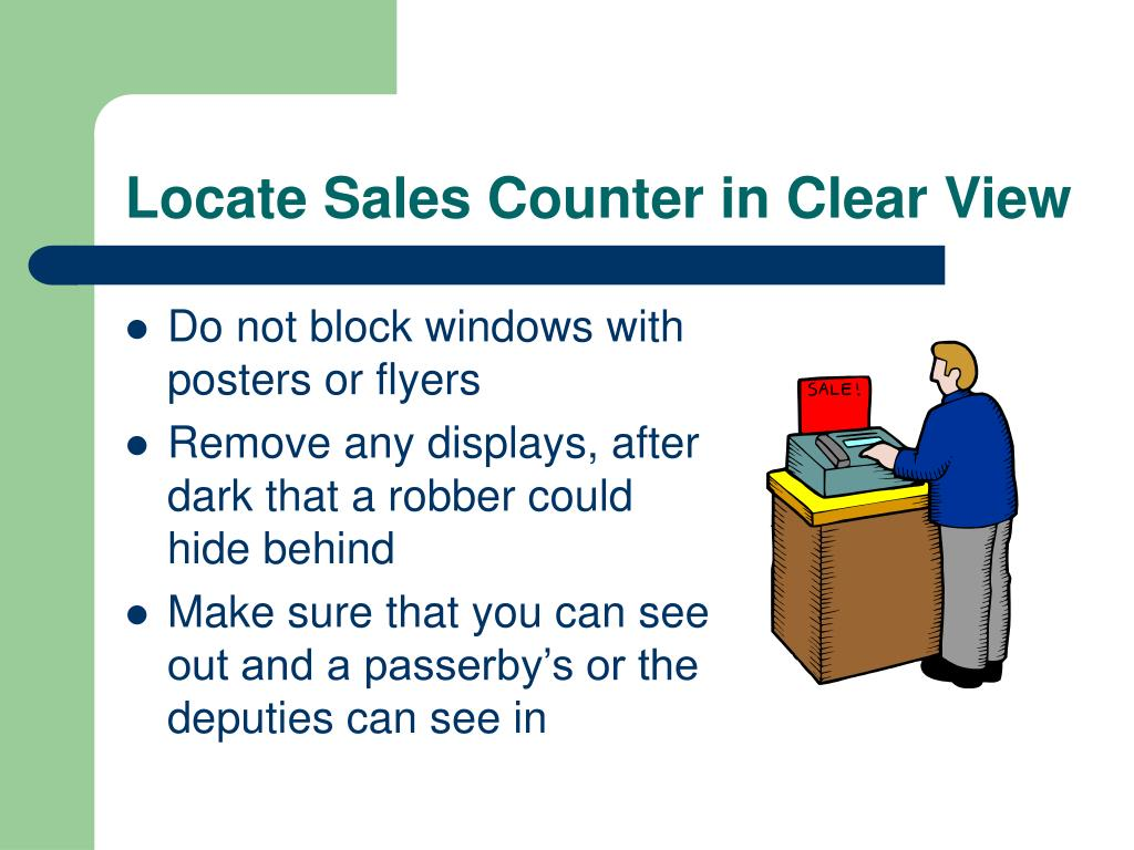 Locate Sales Counter in Clear View