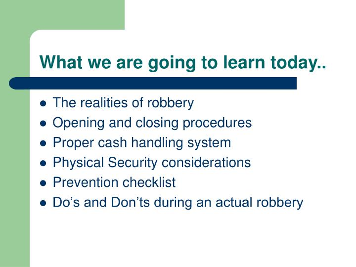 What we are going to learn today