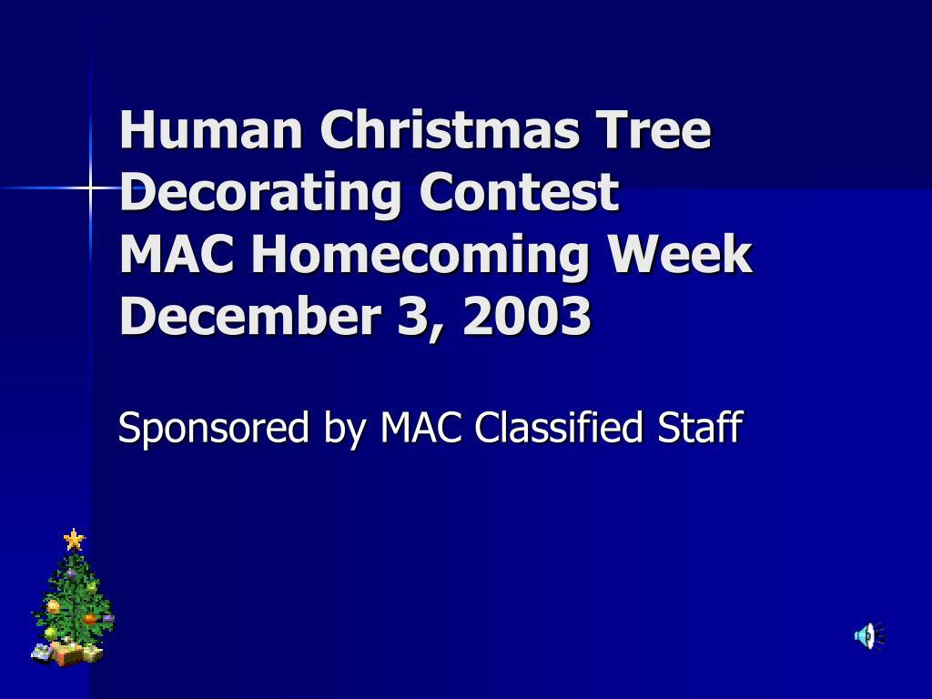 human christmas tree decorating contest mac homecoming week december 3 2003 l.