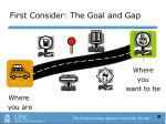 first consider the goal and gap