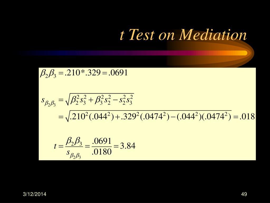 t Test on Mediation