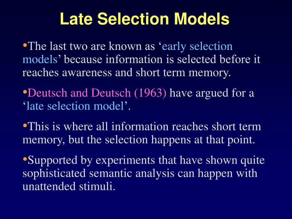 Late Selection Models
