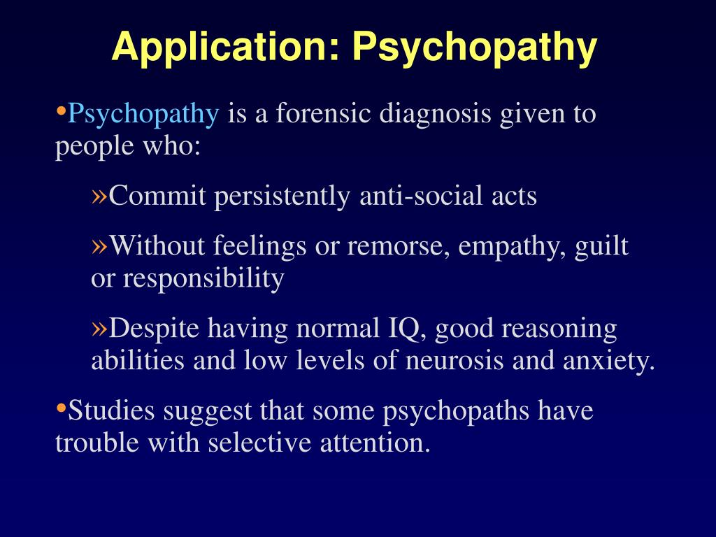 Application: Psychopathy