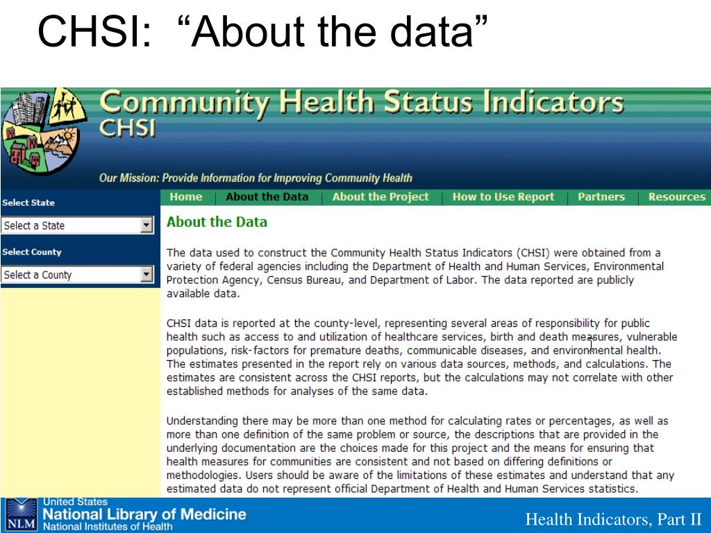 "CHSI:  ""About the data"""