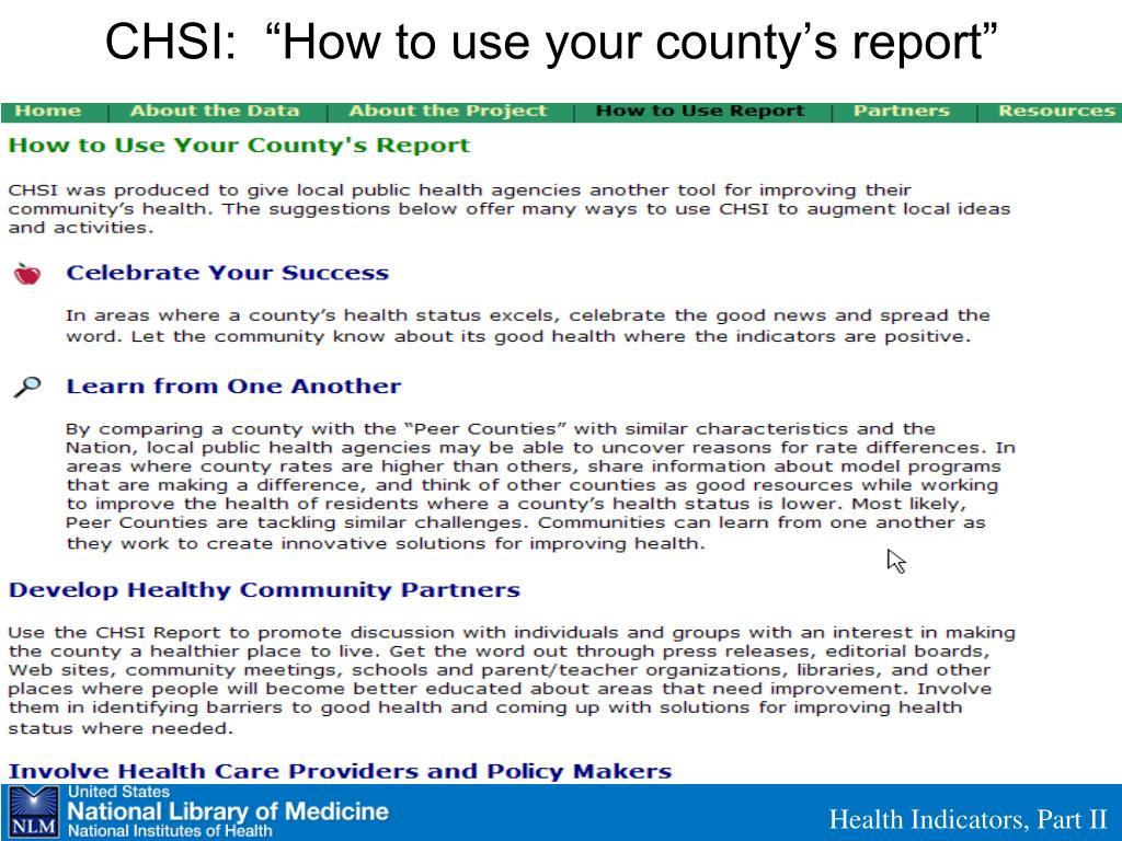 "CHSI:  ""How to use your county's report"""