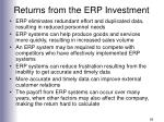returns from the erp investment