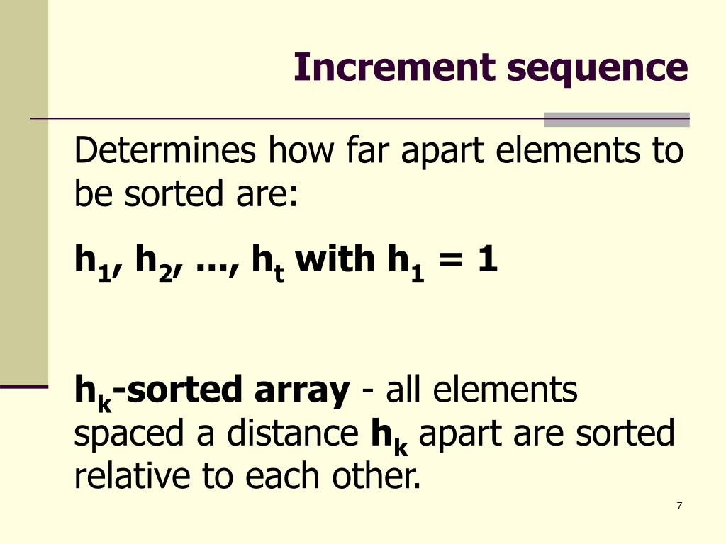 Increment sequence